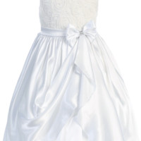 White Satin & Mesh Floral Ribbons Girls Dress with Gathered Front Skirt (Girls 2T - Size 14)