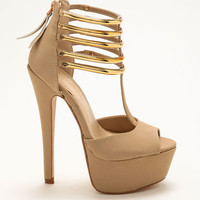 NUDE GOLD STRAP HEELS