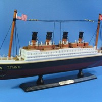"""Titanic 14"""" Model Cruiseship - Already Built Not a Kit - Wooden Ship Model Cruise Ship Replica Scale Model Boat Nautical Home Beach Wall Décor or Gift - Sold Fully Assembled"""