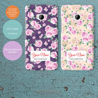 Personalized HTC One Case. Rose pattern hard clam cover add your name and hometown or country FP023