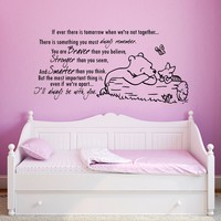 Wall Decals Quotes Winnie the Pooh Vinyl Sticker Decal Art Home Decor Murals Quote Decal If ever there is tomorrow when we're not together Wall Decals for Kids Rooms Nursery Baby Room Bedroom Decals for Girl Boys Gift AN323