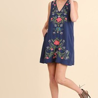 Navy Sleeveless Pocket Floral Embroidery Dress