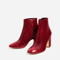 HIGH HEEL LEATHER ANKLE BOOTS WITH TOE CAP