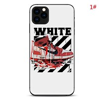 NIKE & Jordan & Off White New  fashion letter shoes people stripe print couple protective cover phone case 1#