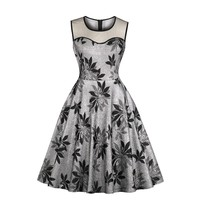 New Women Summer Dress O-Neck Sleeveless Embroidery Lace Floral Mid Dresses Ladies Sexy Vintage Palace Dress Black Blue XXL