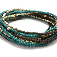 3 Stretch seed bead wrap bracelets, stacking, beaded, boho anklet, bohemian, stretchy stackable multi strand, dark teal, brown, white, ivory