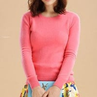 Candy Color Knitted Casual Sweatshirt