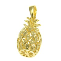 YELLOW GOLD STERLING SILVER 925 HAWAIIAN 3D PINEAPPLE CHARM PENDANT LARGE 14MM