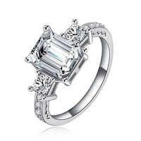 Victorian Style Princess Cut Cubic Zirconia Diamond Silver Ring
