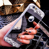 """Luxury Gold Bling Glitter Diamond Soft TPU Phone Case For iPhone 7 & 7 Plus iPhone 6 6S 4.7""""  Plus 5.5"""" Silicone Back Cover Silver"""