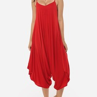 Casual Plain Loose Fitting Designed Jumpsuits
