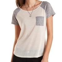 Color Block Raglan Sleeve Pocket Tee by Charlotte Russe