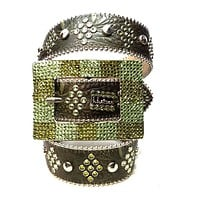 B.B. Simon Green Studded Leather Fully Loaded Big Block Crystal Belt