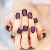 Turn Over French Purple Fake Nails with Golden Side Normal Length Round Head Full Cover 24pcs Nails Tips