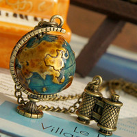 Global Travel Globe Necklace jewelry retro miniature telescope [1446] - $5.39 : Favorwe.com Supply all kinds of cheap fasion jewelry