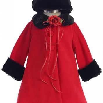 Red Fleece & Black Fur Trimmed Girls Dress Coat w. Hat 3m-24m