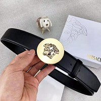 Versace New fashion human head buckle couple belt Black with box
