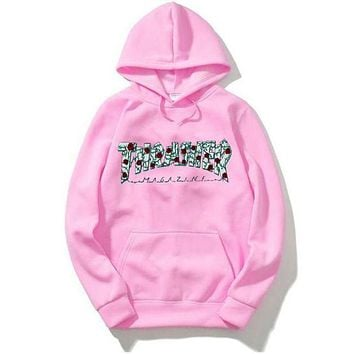 THRASHER Trending Women Men Casual Stylish Letter Print Long Sleeve Hoodie Hip-Hop Sweater Top Sweatshirt Pink I/A