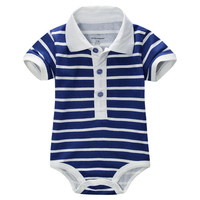 Fashion striped baby boys bodysuits handsome newborn body suit infant jumpsuits turn-down collar baby clothes