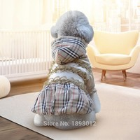 Luxury Plaid Pet Dog Clothes Warm Clothing For Cats Small Dogs Chihuahua Puppy Jacket Coat Ski Parka Warm Winter Dress With Lace