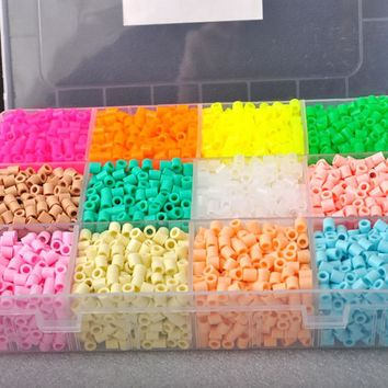 Hama Beads 3MM 12Colors Kit Perler Beads Set DIY Creative Puzzles Plastic Jigsaw Board Baby Kids Educational Toys Light Color