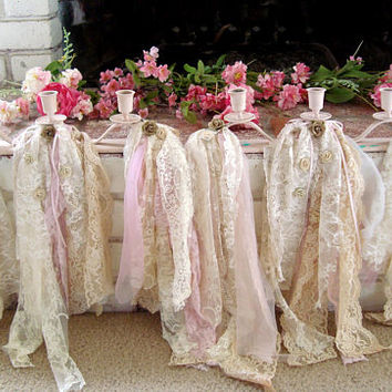 Shabby Chic Baby Pink Nursery Decor, Pink Candles with Garland, Taper Candleholders, Tattered Lace Garland with Taper Candlestick Holders