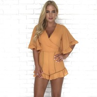 Still The One Mustard Ruffle Romper