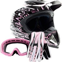 Adult Offroad Helmet Goggles Gloves Gear Combo DOT Motocross ATV Dirt Bike MX Pink Splatter ( Small )