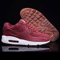 NIKE AIR MAX 90 Sneakers Red Trending Snake Skin Texture Women Sneakers B-A-QDSK-Buy Micro