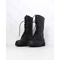 FINAL SALE - Lace Up Combat Boots in Black