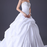 Ivory Off-Shoulder Ruched Ruffled Beaded Bridal Gown