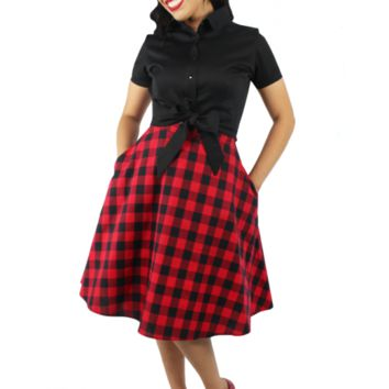 Hemet Women's Plaid Circle Skirt - Red and Black