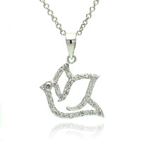 .925 Sterling Silver Open Dove Cubic Zirconia Necklace