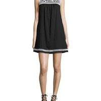 Tory Burch Hopewell Embroidered Dress, Black/Ivory
