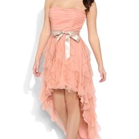 Dress with Tendril Skirt and Satin Waist