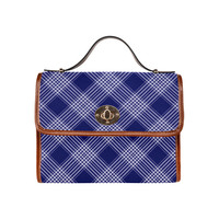 Navy Blue And White Plaid Waterproof Canvas Bag/All Over Print (Model 1641) | ID: D963883