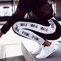 Onewel Victoria's Secret PINK Gym Yoga Pants Exercise Fitness Running Leggings Sweatpants Black +white staipe