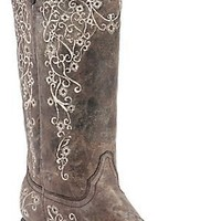 Corral® Ladies Distressed Brown w/ Bone Embroidery Snip Toe Western Boots