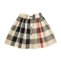Burberry Check Button-Front Skirt, Beige, 4Y-10Y