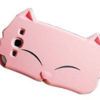 New Cute Cartoon Cat Silicone Case Cover for Samsung Galaxy S3 i9300 Pink