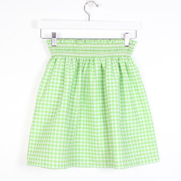 Vintage 1970s Skirt Handmade Embroidered Smocked Waist Hippie Skirt Lime Green White Check Gingham Plaid Kitsch 70s Micro Mini Skirt XS S M