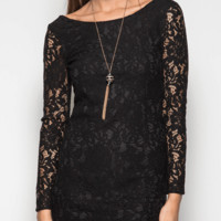 Long Sleeve Bodycon Lace Dress - Black