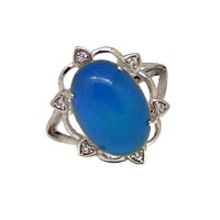 White Gold Plated Zircon Mood Ring