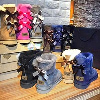 UGG fashion casual women's boots sell solid color bow and velvet snow boots Shoes UGG