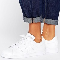 adidas Originals All White Stan Smith Sneakers at asos.com