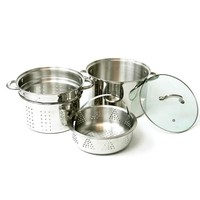 Stainless Steel Pasta Cooker Set with 8 Quart Stock Pot with Steamer Inserts (4 Pieces) | Overstock.com Shopping - The Best Deals on Pots/Pans