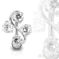 ELEGANT 4 GEM VINE REVERSE BELLY NAVEL RING CLASSY = 1958351556