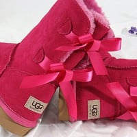 UGG Bow Leather Shoes Boots Winter Half Boots Boots Shoes
