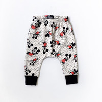 baby mickey mouse harem pants, disney toddler leggings, unisex baby pants, cloth diaper pants, trendy baby clothes, toddler gift