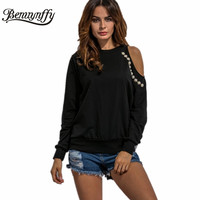 Off Shoulder Beading Women Hoodies Fashion Autumn Ladies Tops Long Sleeve Sweatshirt Women Casual Loose Style